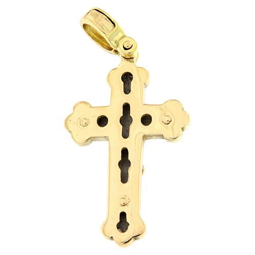 Budded cross pendant 18-carat bicolor gold 5.4 gr 2