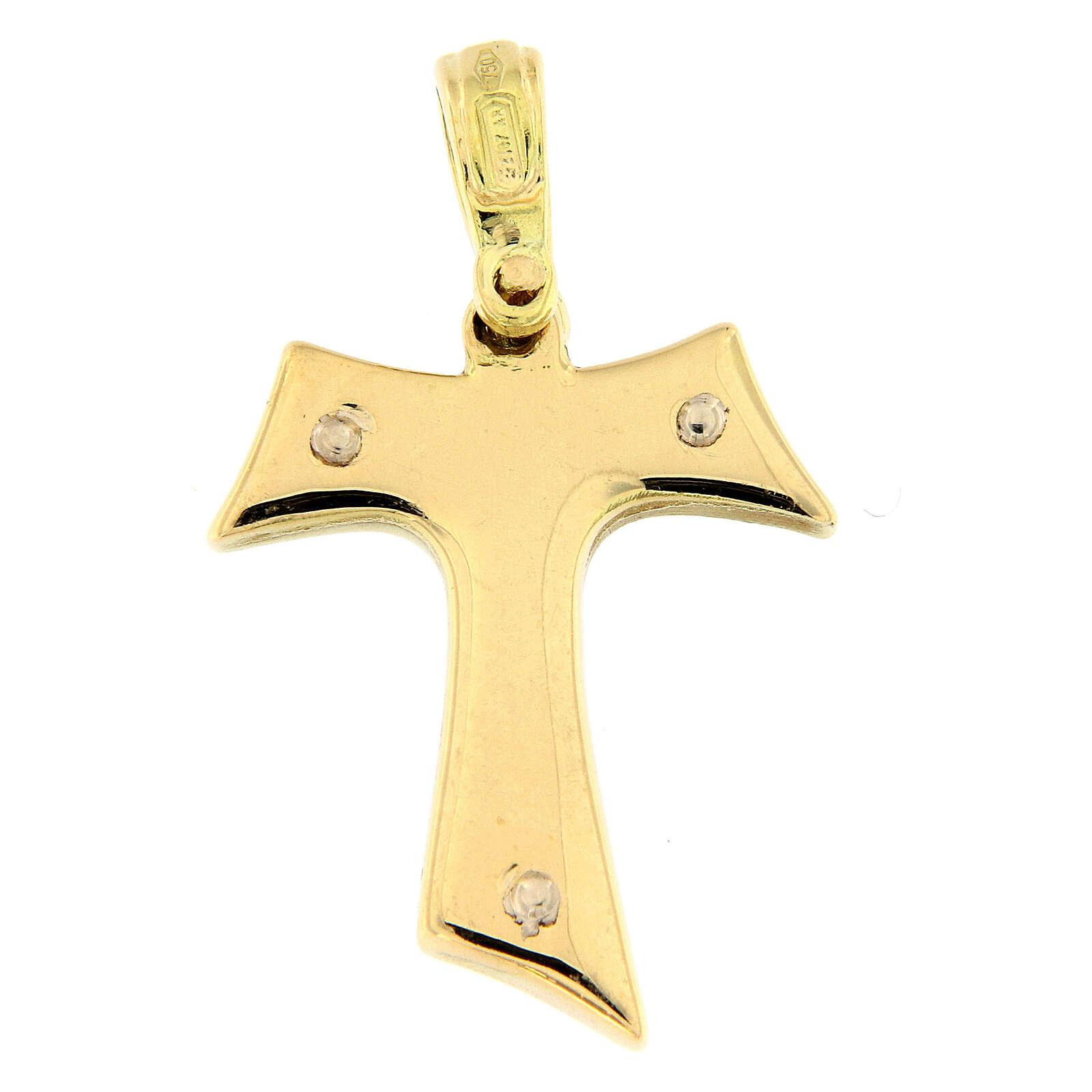 Pendente croce Tau bicolore oro 18 carati 2,6 gr 4