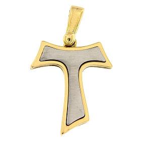 Pendente croce Tau bicolore oro 18 carati 2,6 gr s1