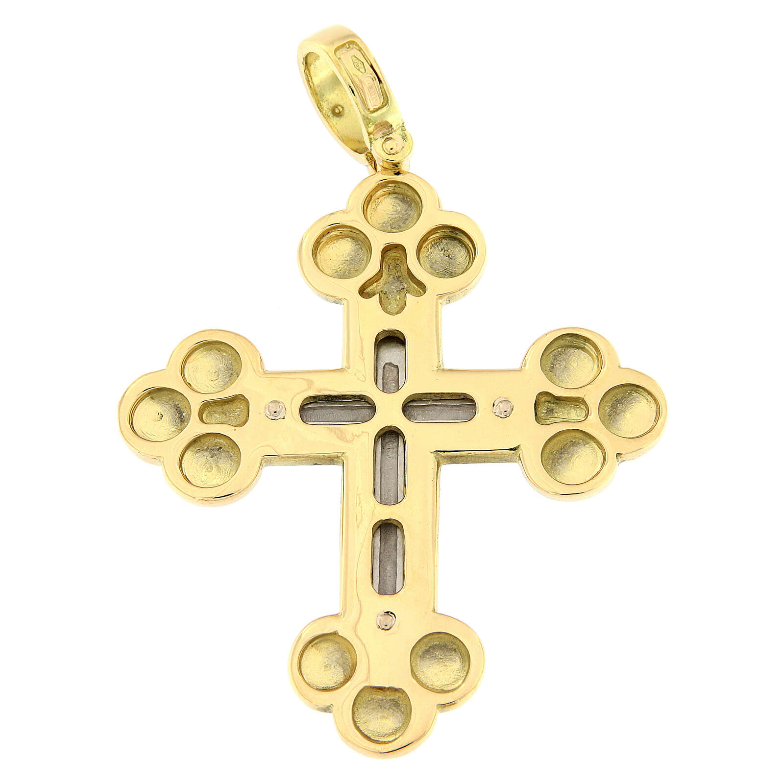 Pendente croce ortodossa bicolore oro 18 carati 13 gr 4