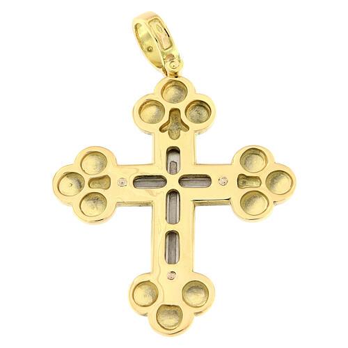 Pendente croce ortodossa bicolore oro 18 carati 13 gr 2