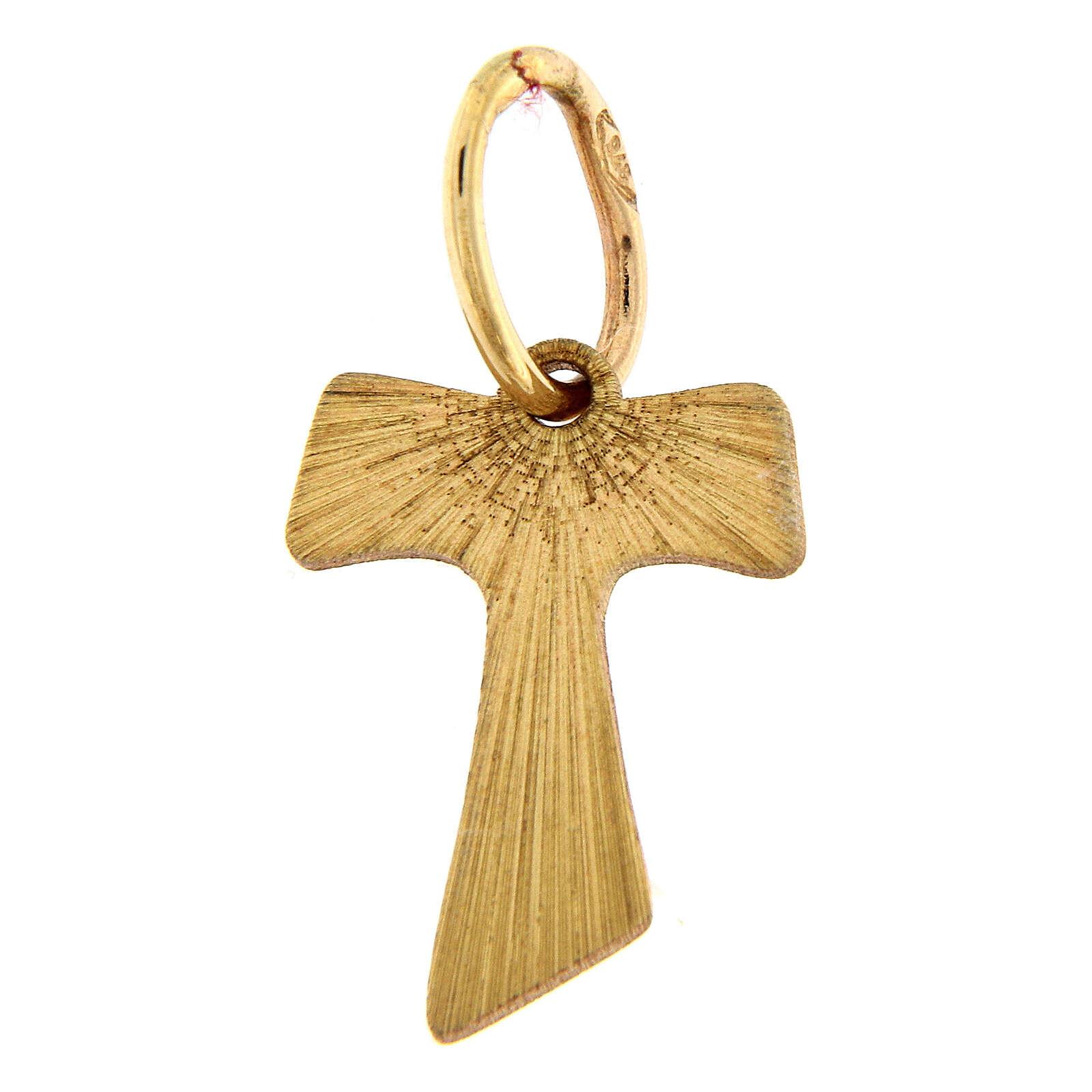 Croix pendentif Tau or 18K effet bois 0,2 gr 4