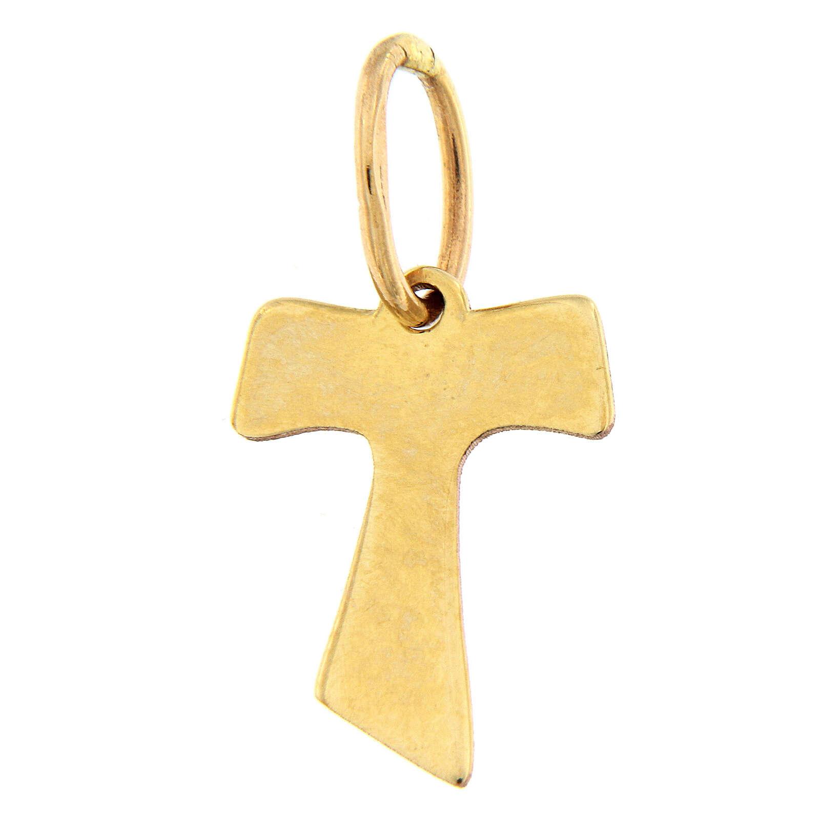 Croce pendente Tau oro 18 carati effetto legno 0,2 gr 4