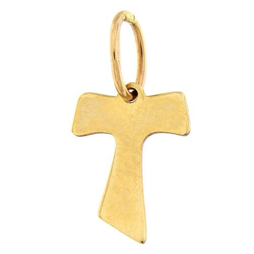 Croce pendente Tau oro 18 carati effetto legno 0,2 gr 2