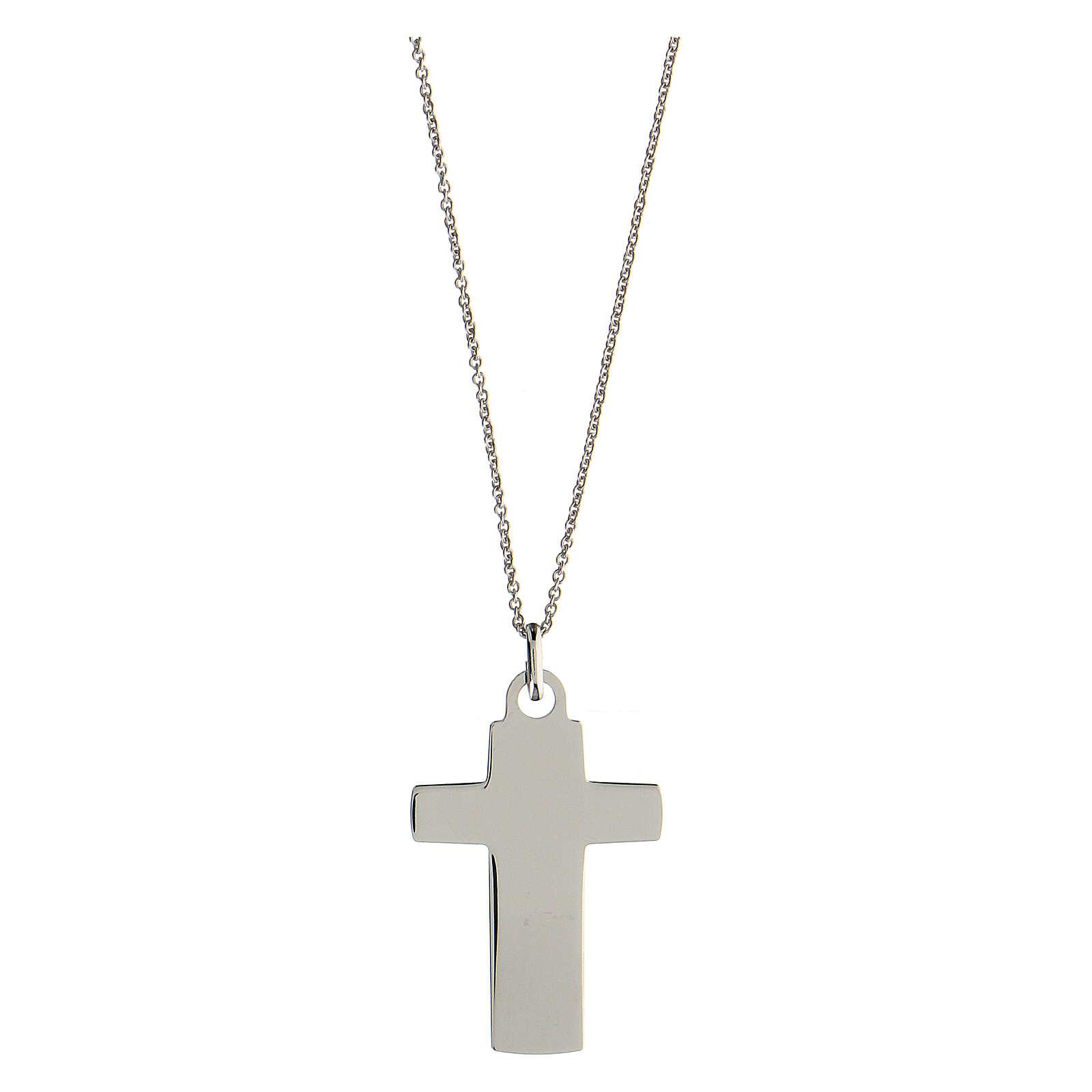 Collier grande croix gravée Véritable Amour argent 925 4