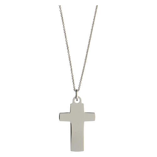 Collier grande croix gravée Véritable Amour argent 925 2
