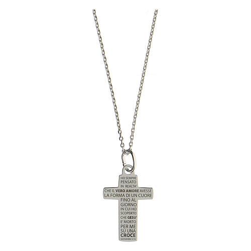 Collier croix gravée moyenne Véritable Amour argent 925 1