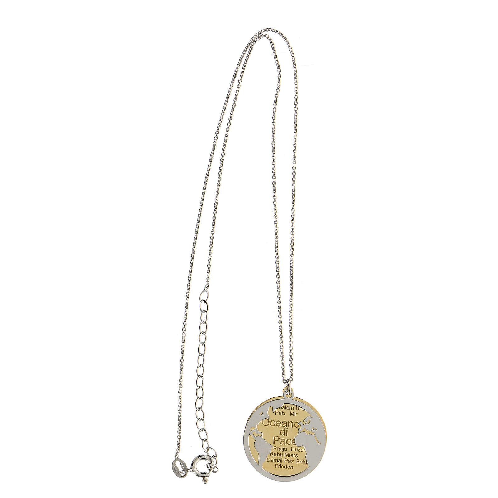 Doble medalla Oceano di Pace plata 925 bicolor 4