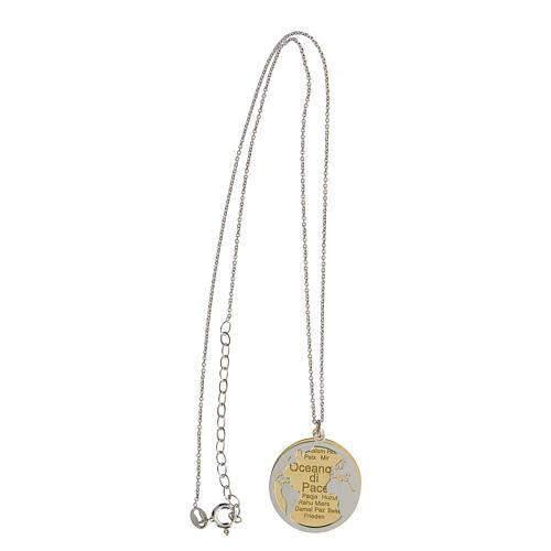 Doble medalla Oceano di Pace plata 925 bicolor 5