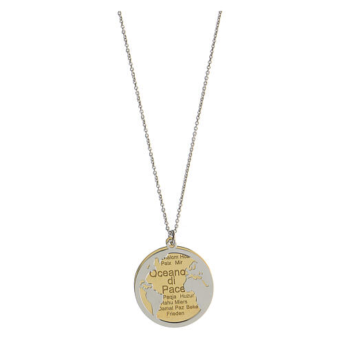 Double médaille Oceano di Pace argent 925 bicolore 1
