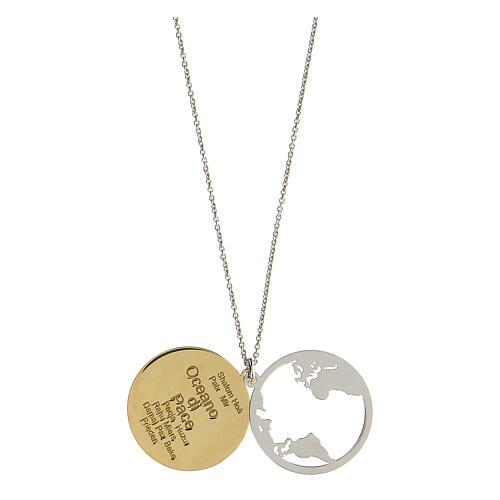 Double médaille Oceano di Pace argent 925 bicolore 2