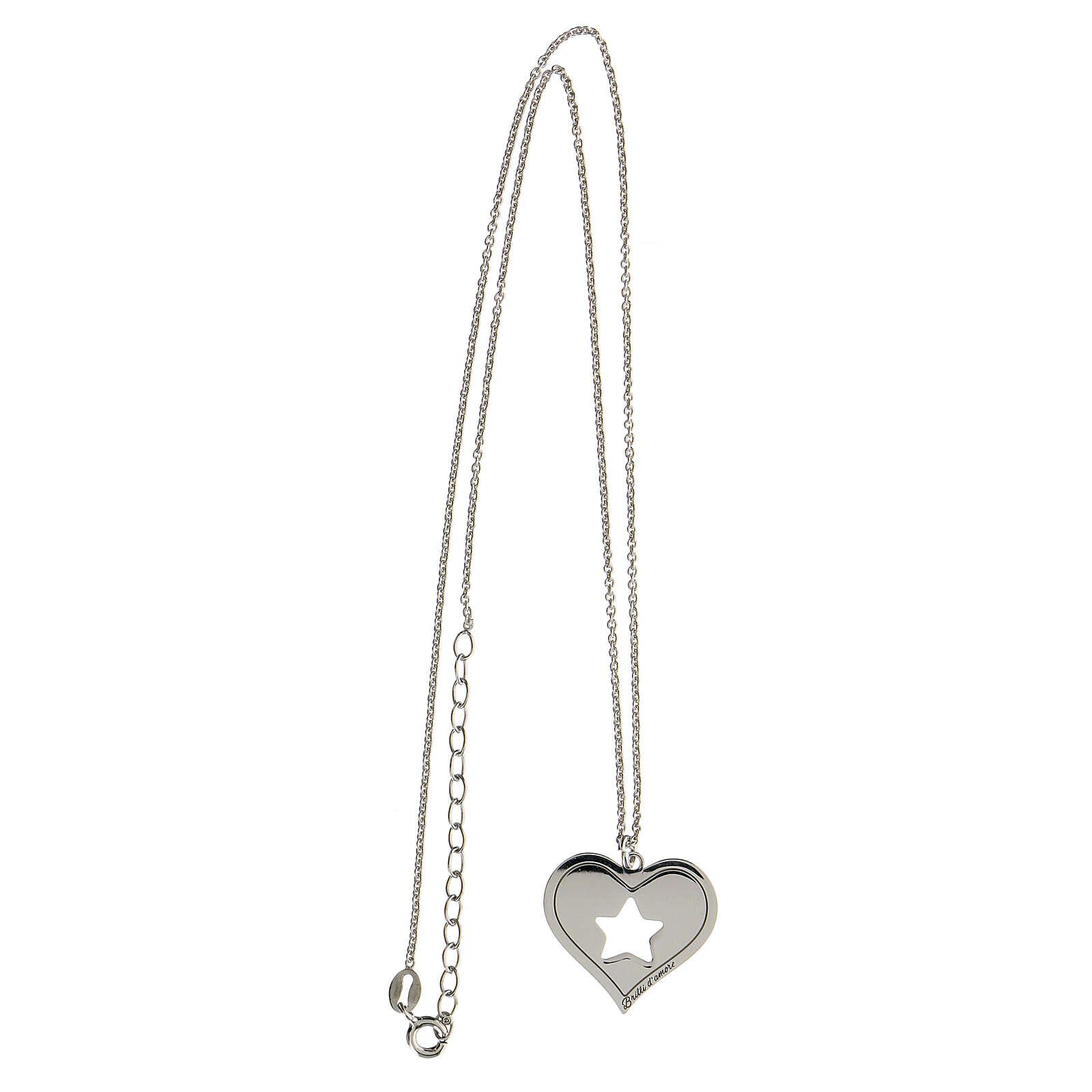 Collar corazón estrella plata 925 4