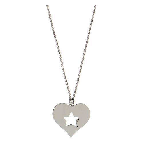 Collar corazón estrella plata 925 2