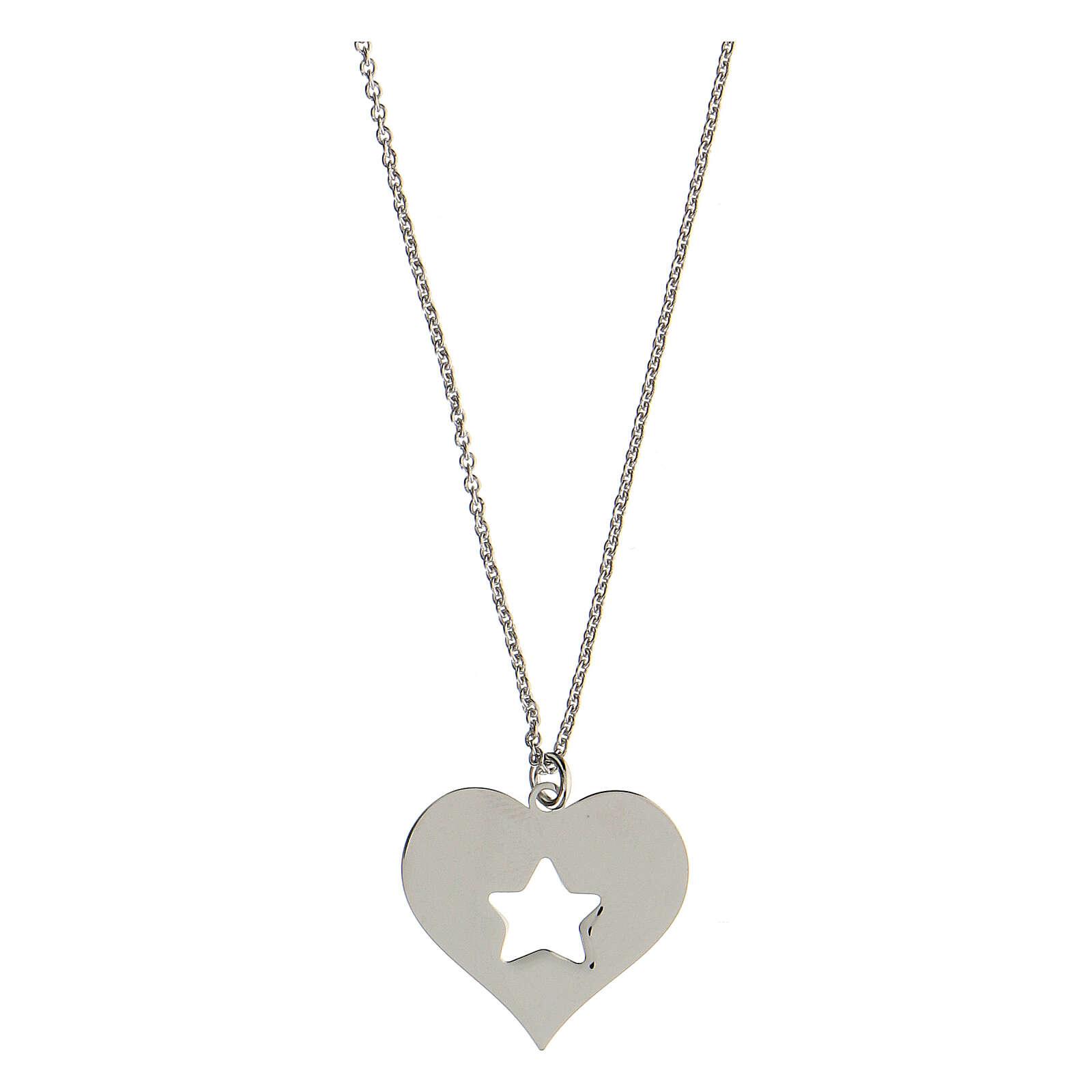 Collana cuore stella argento 925 4
