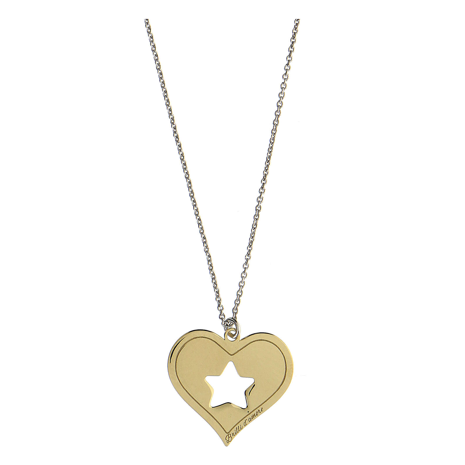 Collar Brilli Amore corazón estrella plata 925 dorada 4