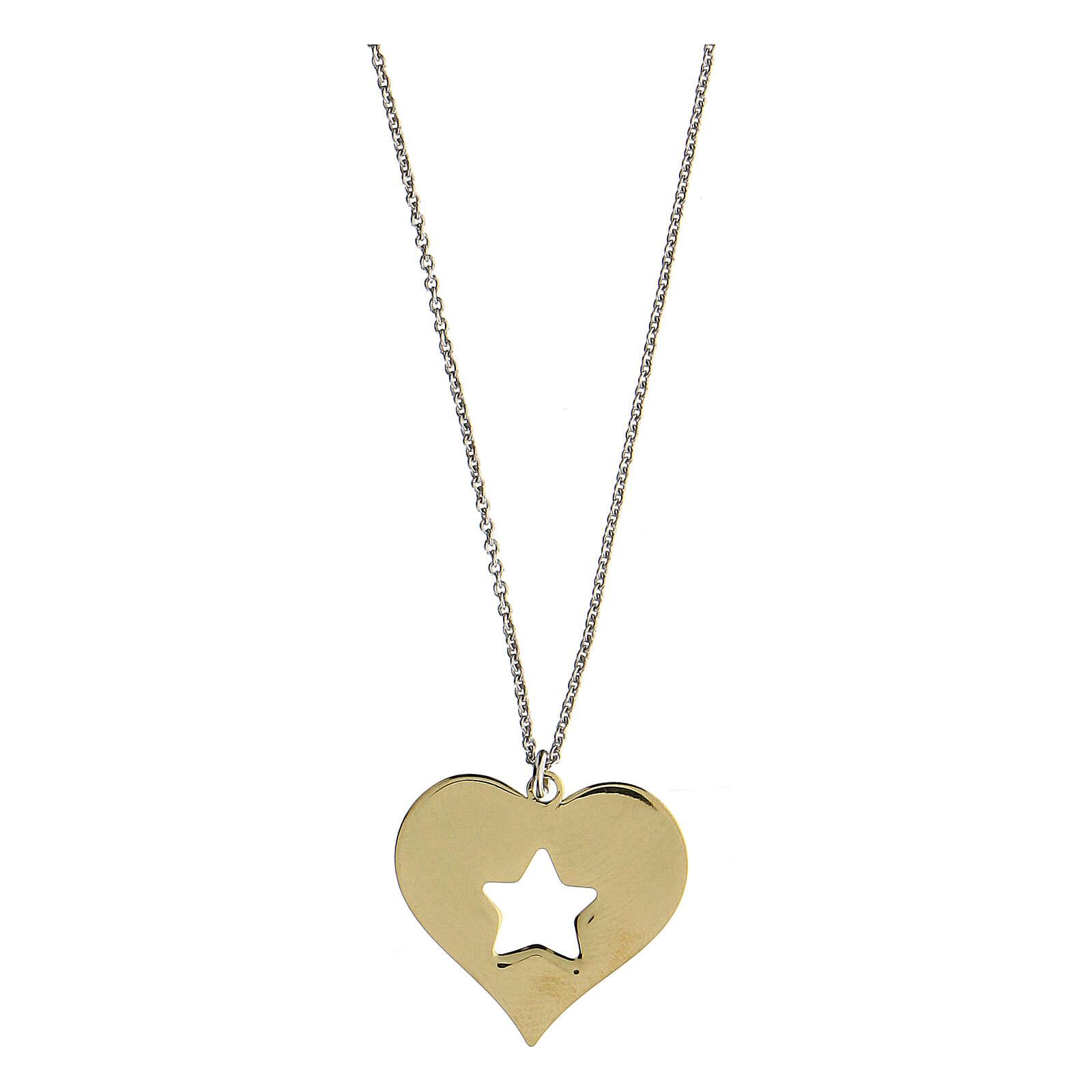 Collier coeur étoile argent 925 pendentif doré 4