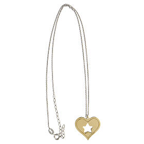 Collier coeur étoile argent 925 pendentif doré s3