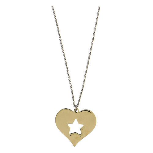Collier coeur étoile argent 925 pendentif doré 2