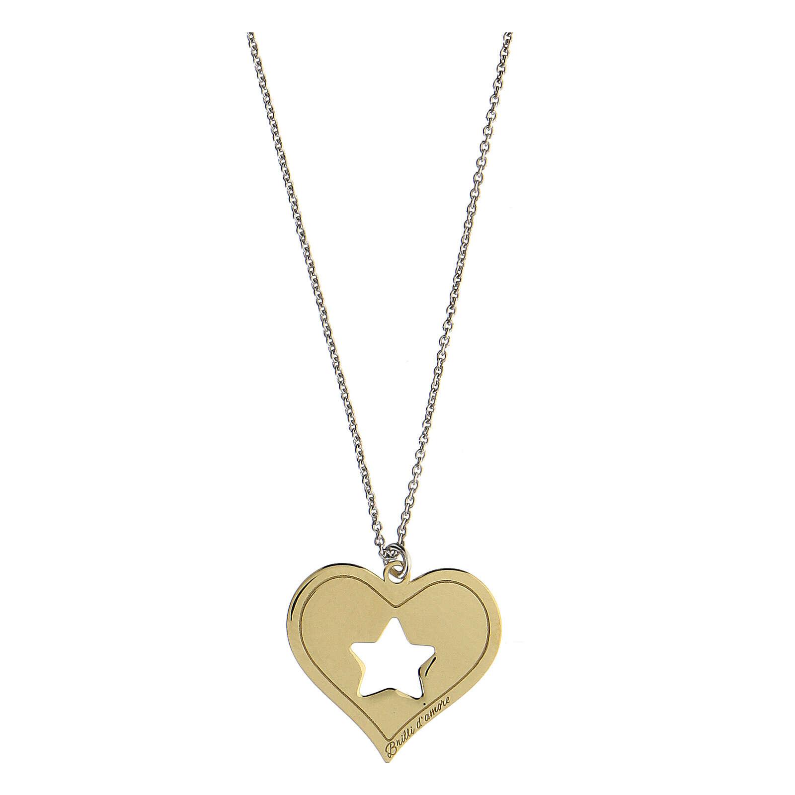 Collana Brilli Amore cuore stella argento 925 dorato 4