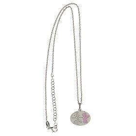 Collar Ángel de Dios plata 925 esmalte rosa s3