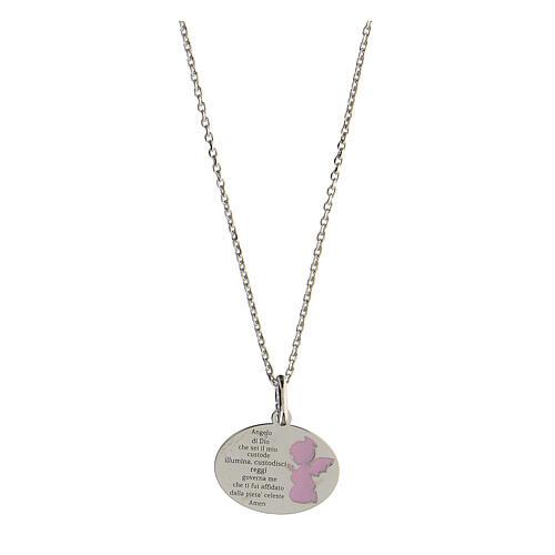 Collar Ángel de Dios plata 925 esmalte rosa 1