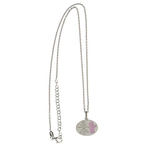 Collar Ángel de Dios plata 925 esmalte rosa 3