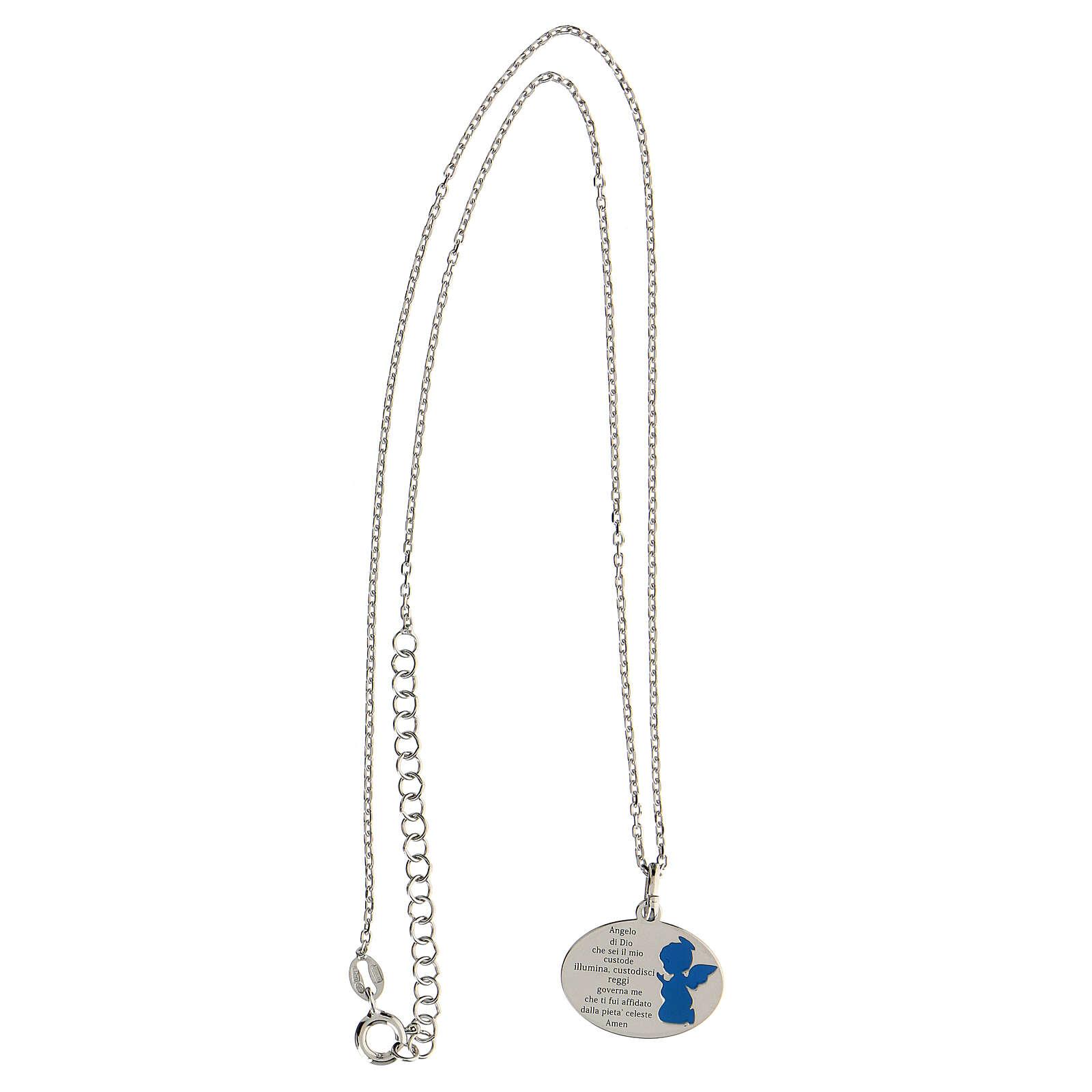 Collier Ange de Dieu argent 925 émail bleu clair 4
