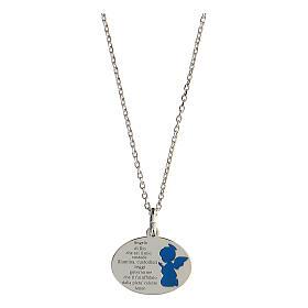 Collier Ange de Dieu argent 925 émail bleu clair s1