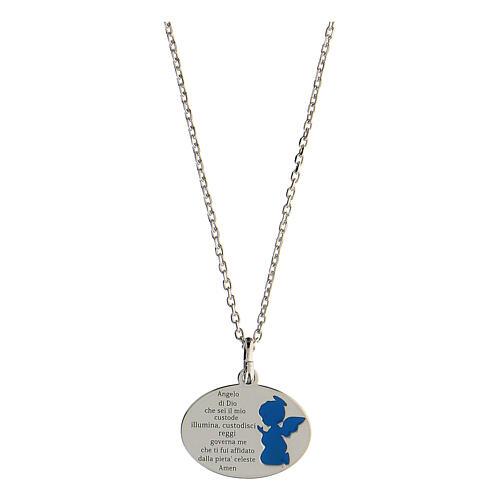 Collier Ange de Dieu argent 925 émail bleu clair 1