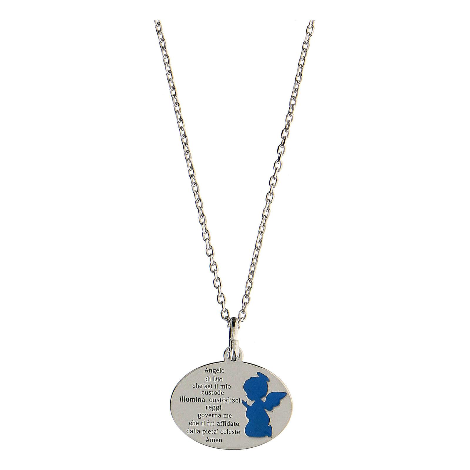 Collana Angelo di Dio argento 925 smalto azzurro 4