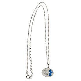 Collana Angelo di Dio argento 925 smalto azzurro s3