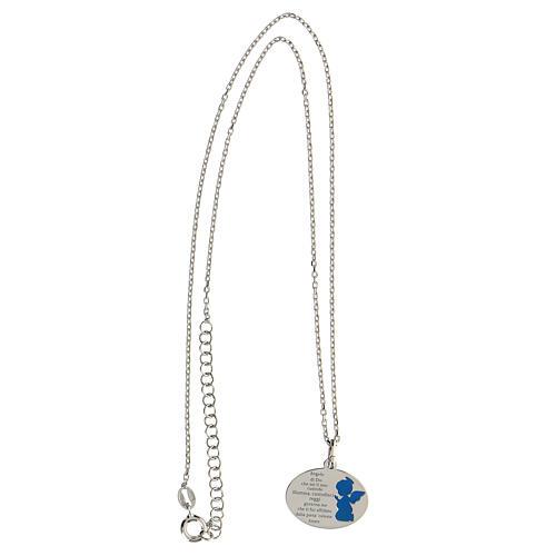 Collana Angelo di Dio argento 925 smalto azzurro 3