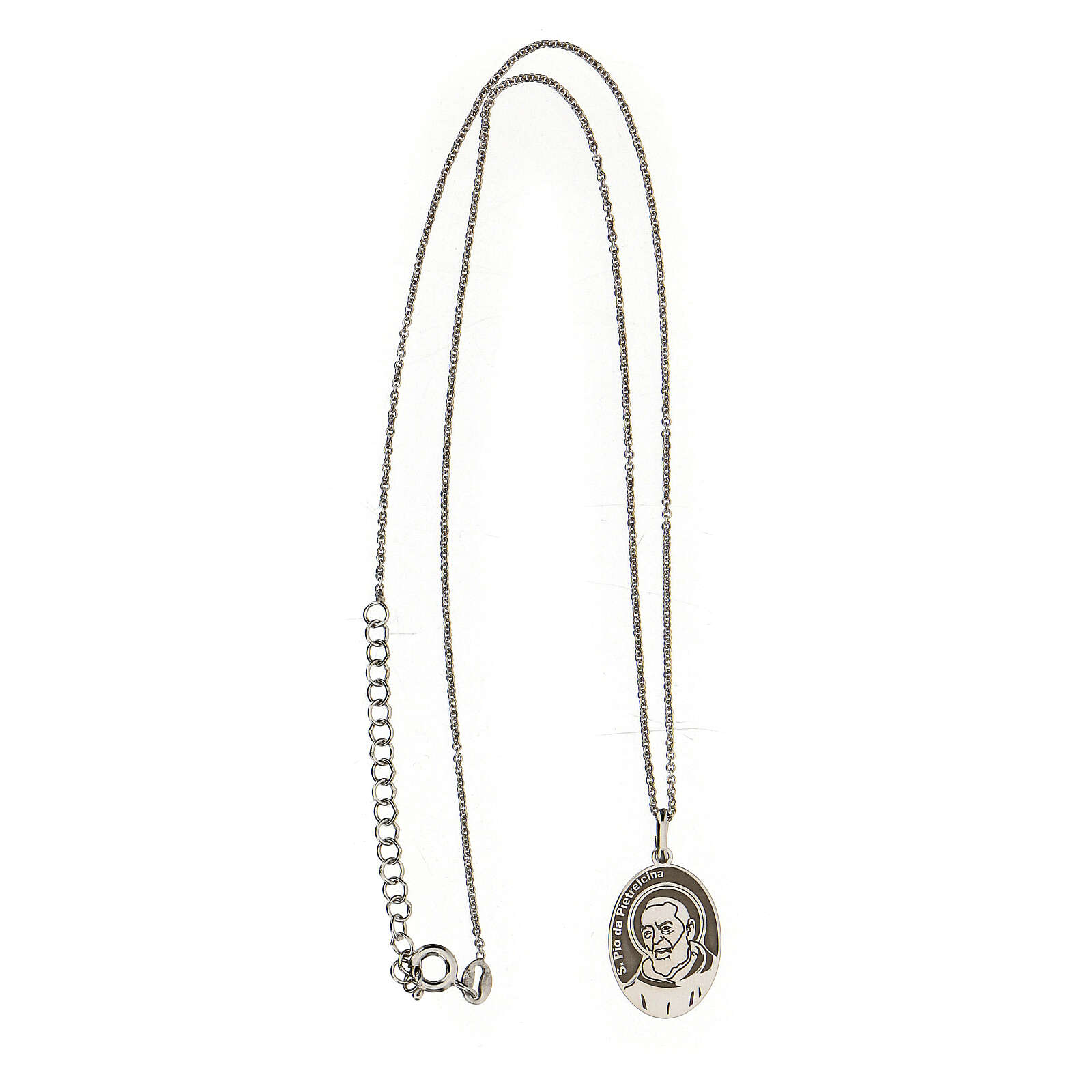 Collana San Pio ovale argento 925 4