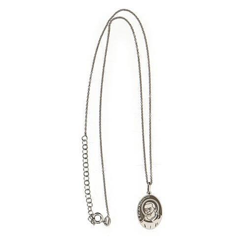 Collana San Pio ovale argento 925 3