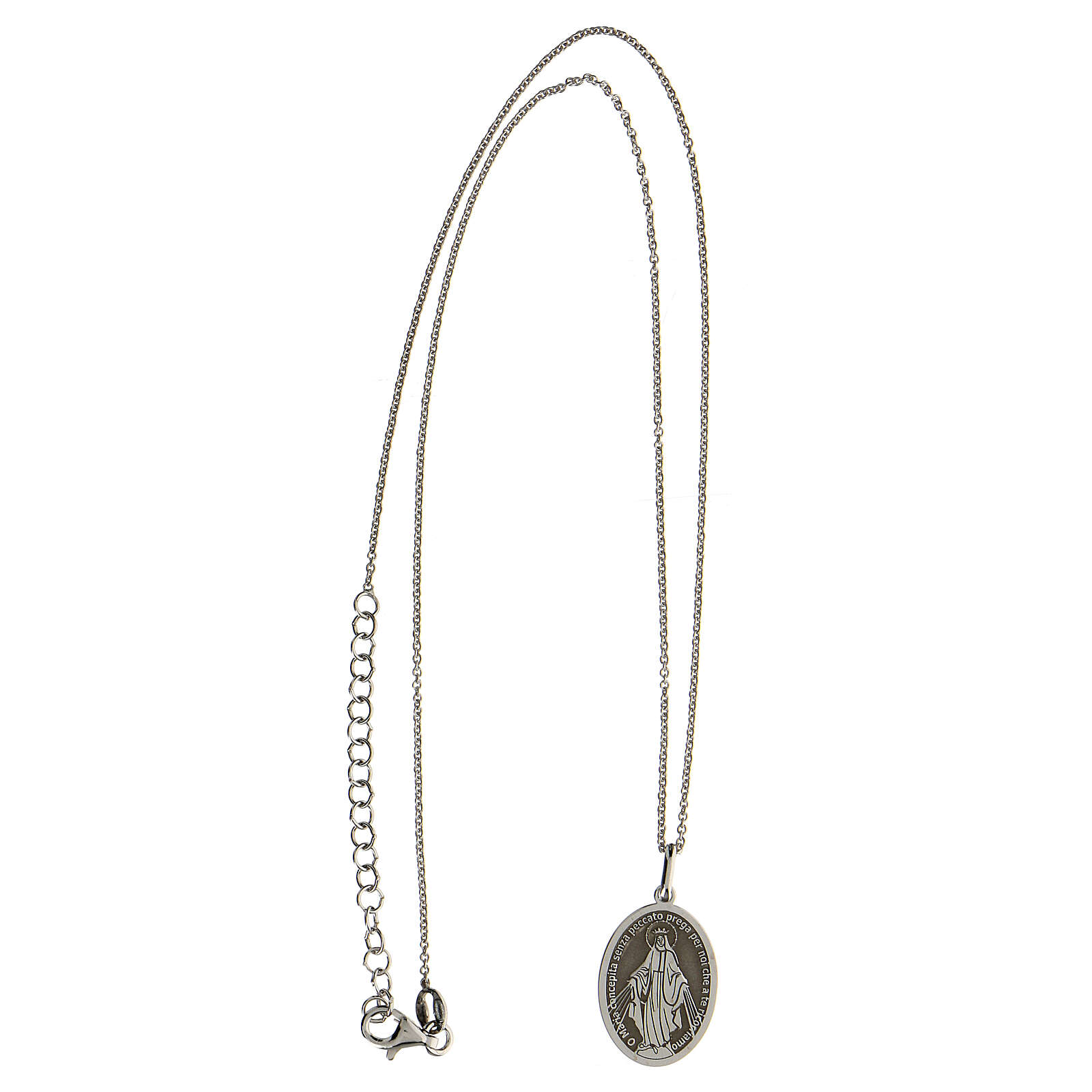Collana Madonna Miracolosa argento 925 rodiato 4