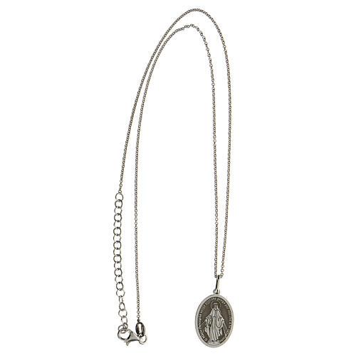 Collana Madonna Miracolosa argento 925 rodiato 3