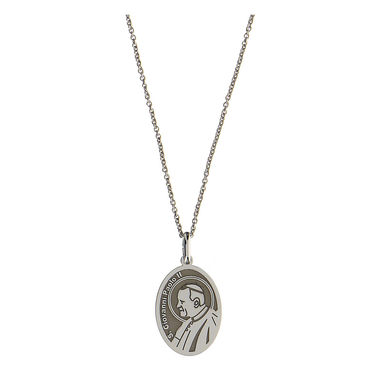 Collana San Giovanni Paolo II argento 925 rodiato 4