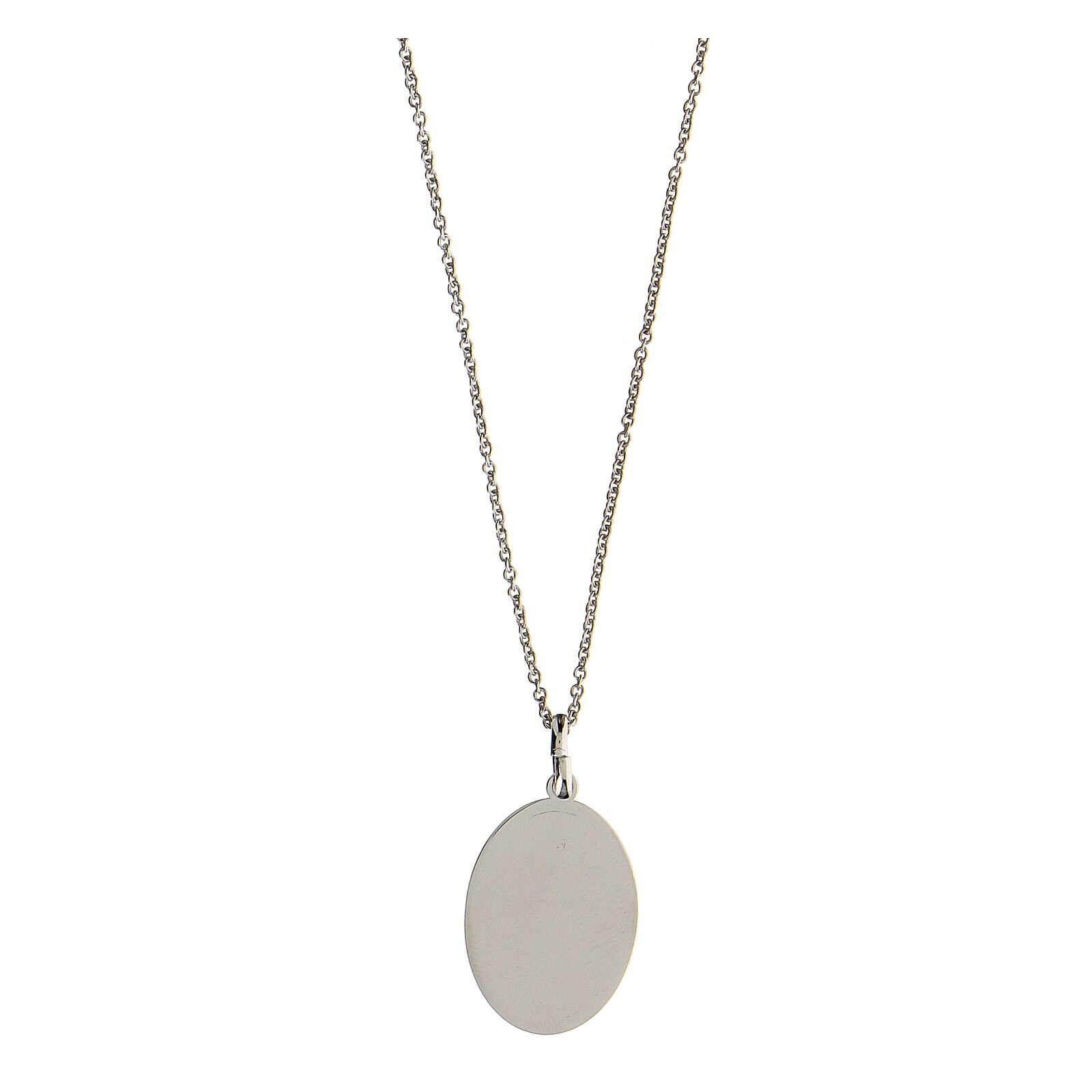 Collar Virgen Lourdes plata 925 inciso 4