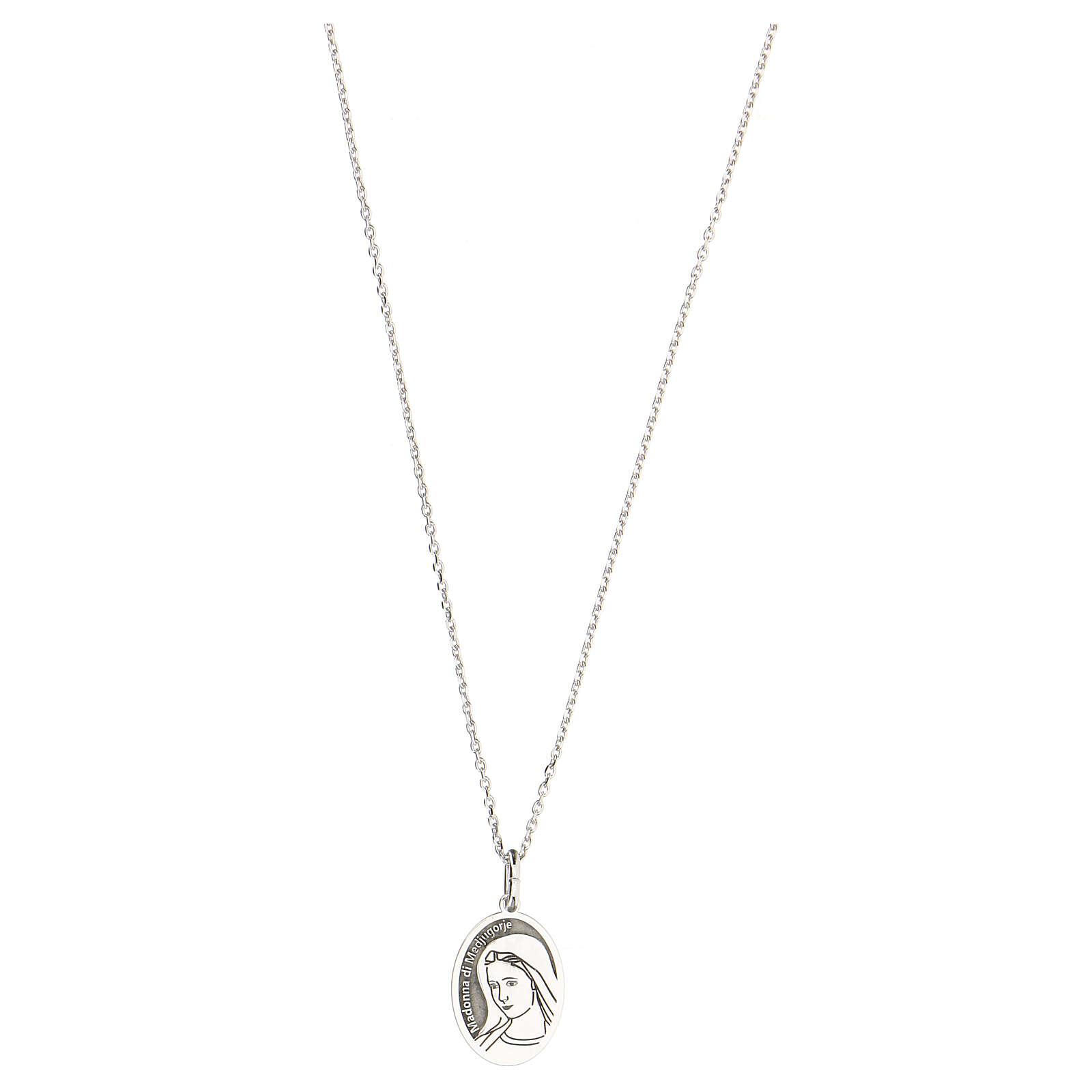 Collier Notre-Dame de Medjugorje argent 925 rhodié 4