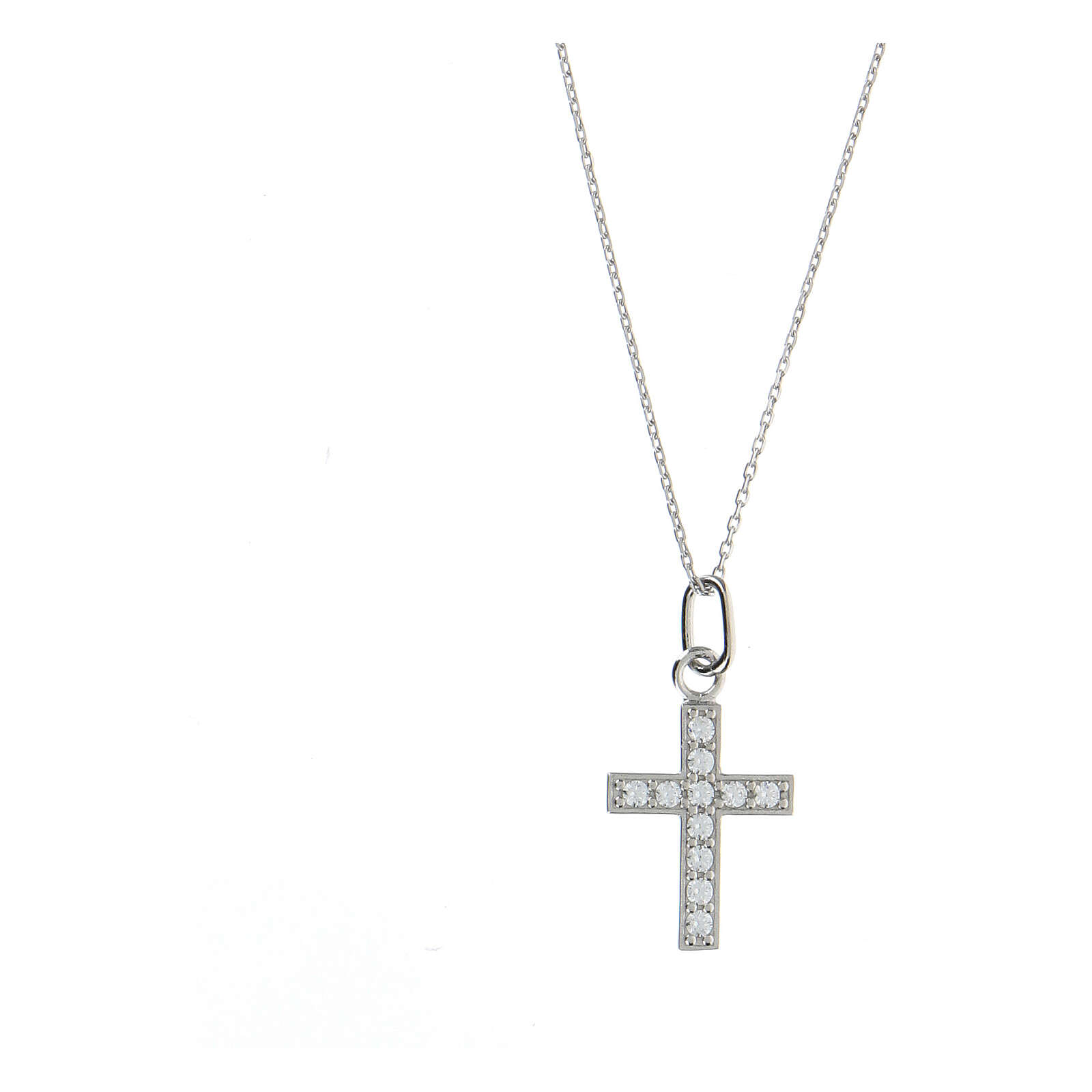 Collar cruz plata 925 zircones blancos 4