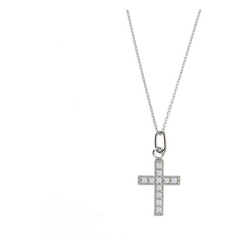 Collar cruz plata 925 zircones blancos 1