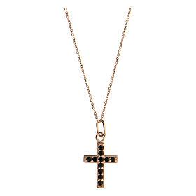 Collier croix argent 925 rosé zircons noirs s1