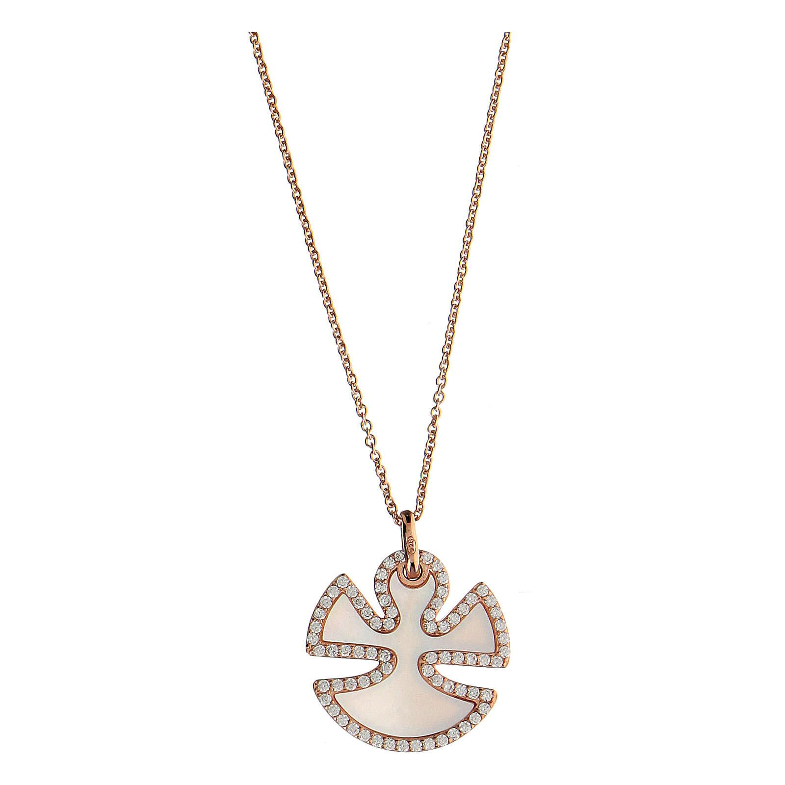 Collana angelo argento 925 madreperla zirconi 4