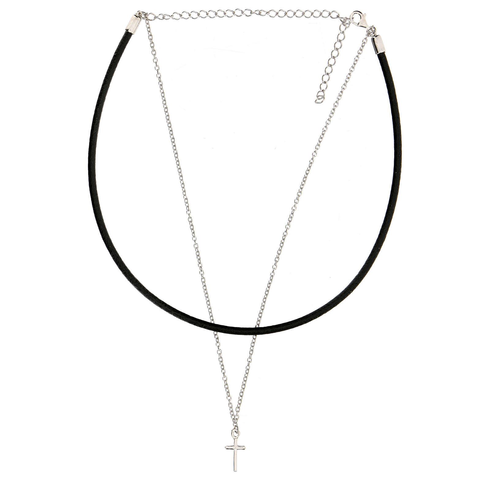 Collier tour de cou croix argent 925 cuir noir 4