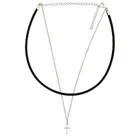 Collier tour de cou croix argent 925 cuir noir s2