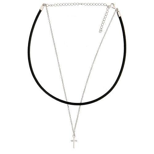 Collier tour de cou croix argent 925 cuir noir 2