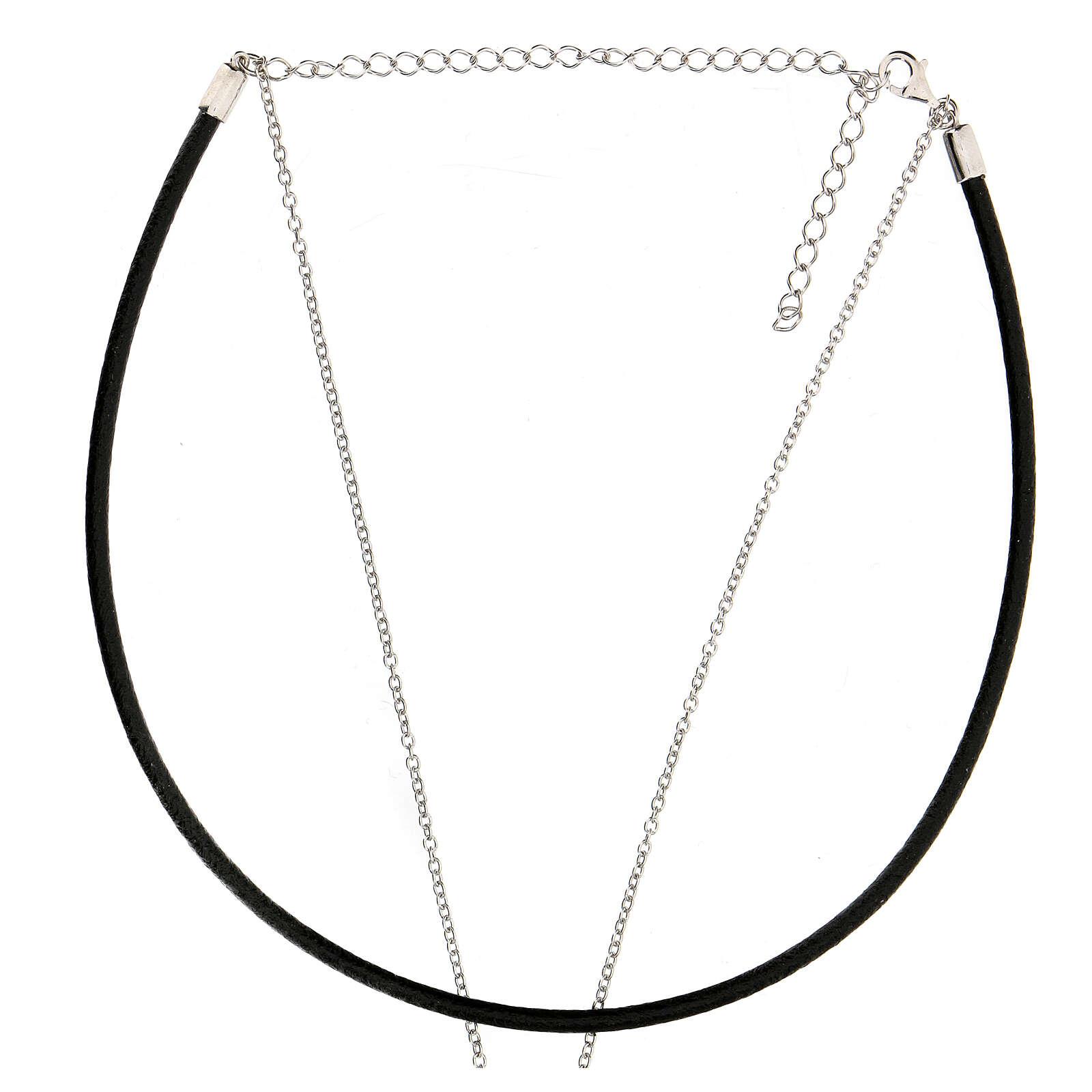 Girocollo croce argento 925 cuoio nero 4