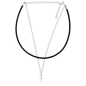 Girocollo croce argento 925 cuoio nero s2