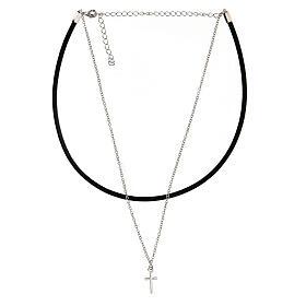 Girocollo croce argento 925 cuoio nero s4