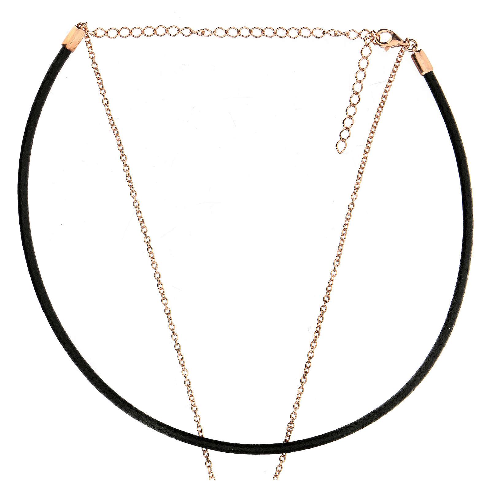 Girocollo croce argento 925 rosé cuoio nero 4